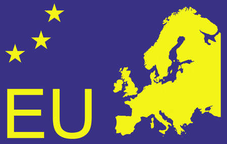 eu: EU map with stars and symbol Illustration