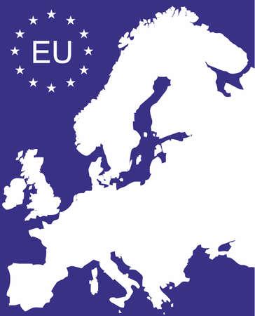 eu: EU map with simbol of Euroepan Union