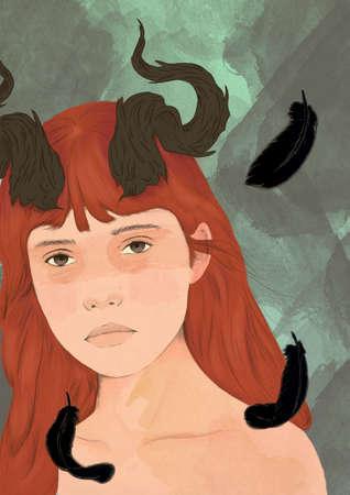 Illustrated portrait Redheaded girl with horns Standard-Bild