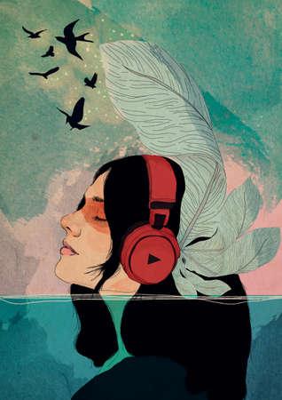 Illustrated portrait girl listening to music underwater