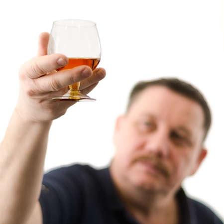mister: Mister tasted fine cognac Stock Photo