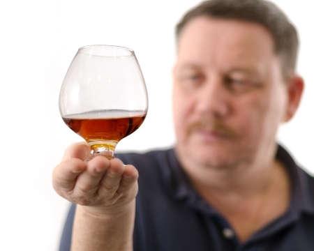 mister: Mister tasted fine cognac. Stock Photo