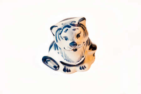 porcelain figurine Tiger on a white background Stock Photo