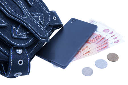 Money is sticking out of the attache Stock Photo