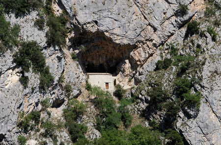 or san michele: Hermitage of san michele Castel San Vincenzo National Park Abruzzo Lazio Molise Stock Photo