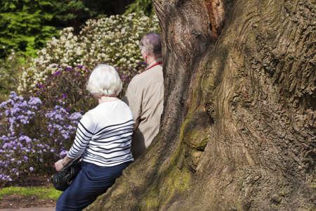 Pensionerade äldre par i parken Stockfoto