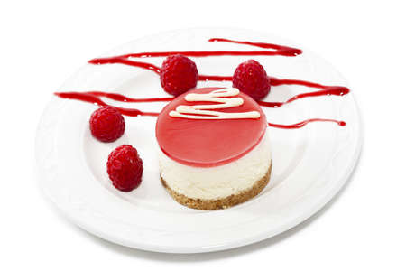 cheese cake: Cheese cake with raspberries  Close up  Stock Photo