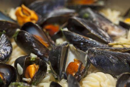 fusilli: Seafood fusilli pasta close-up