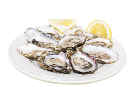 Oyster and lemon on white background On white plate photo