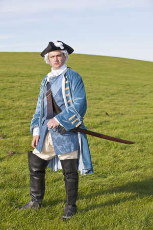 british army: Reenactor in 18th century British army infantry officer uniform