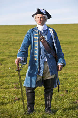 Reenactor in 18th century British army infantry officer uniform Stock Photo - 15472981
