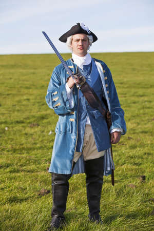 18th century: Reenactor in 18th century British army infantry officer uniform
