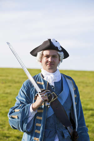 Reenactor in 18th century British army infantry officer uniform Stock Photo - 15472975
