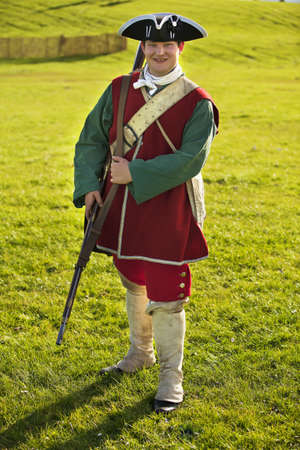 reenactor: Reenactor in 18th century British army infantry Redcoat uniform