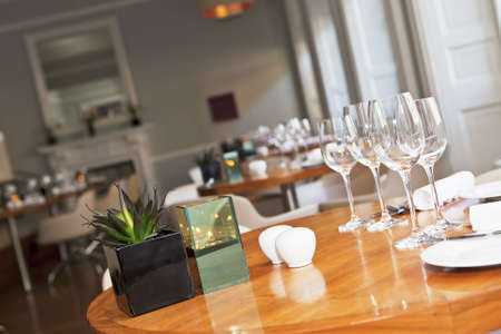 Dining table in stylish luxury restaurant with a plant and candle vase. Selective focus. Shallow depth of field Stock Photo - 15763954