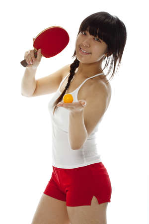 Young Asian woman with a table tennis racket isolated on white. Closeup, vertical composition photo