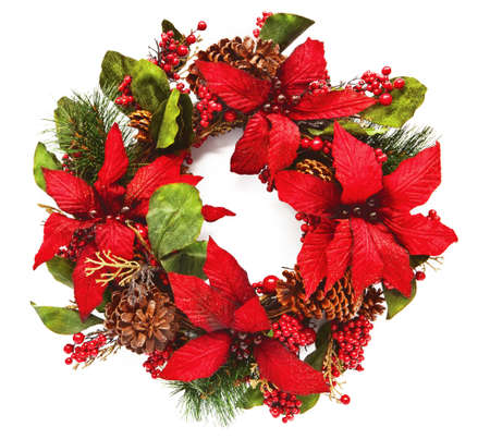 pine wreath: Closeup of artificail christmas wreath with poinsettia flowers and natural pinecones. Square crop isolated on white  Stock Photo