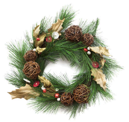 Closeup of artificail christmas wreath decorated with buttons and bells. Square crop isolated on white photo