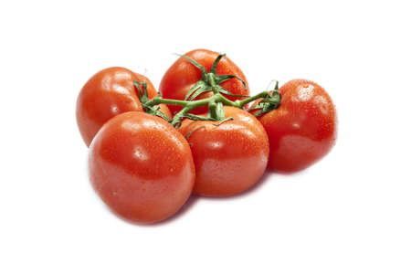 Closeup of vine tomatoes isolated on white background  Selective focus Stock Photo - 17093753