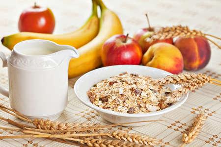 Hälsosam kost frukost låg kalorier skål schweiziska müsli med frukt och mjölk