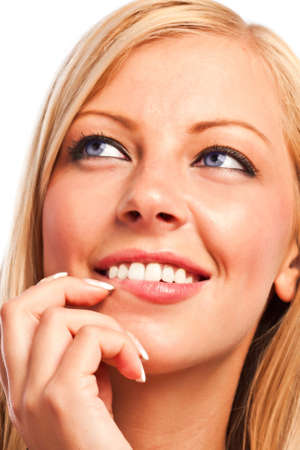Closeup of a caucasian sensual girl's face and fingers with manicure Stock Photo - 18785491