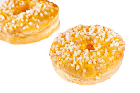 Two Glazed Doughnuts Isolated on a White Background  photo
