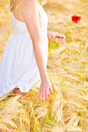 Portrait of pretty young woman at wheat field, a girl against golden wheat background expressing calmness emotions Stock Photo - 21089687