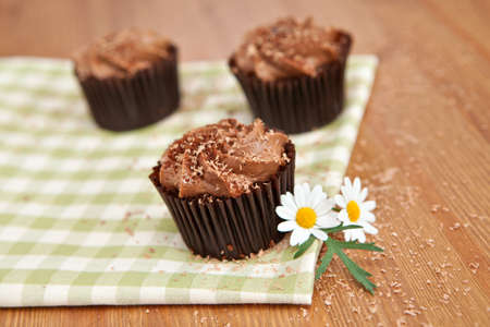 greeen: Lovely fresh chocolate cupcakes on greeen cloth. Very shallow depth of field