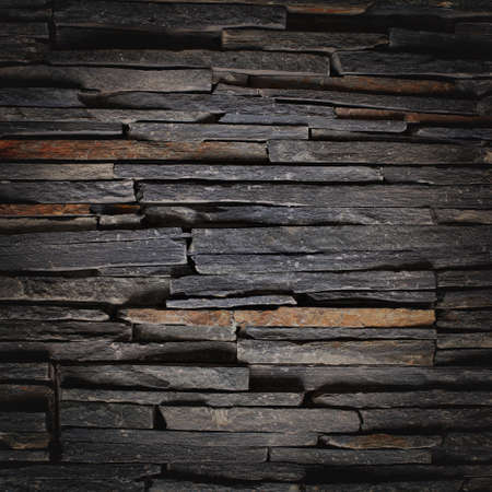 Stacked Slate Stone Wall sqare textured background Imagens - 22435169