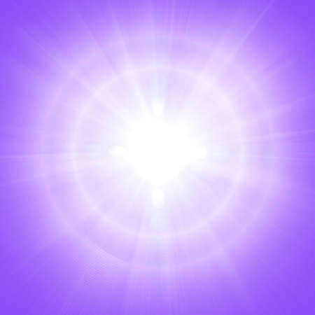 center position: Purple sky with glaring sun. Square crop center position Stock Photo