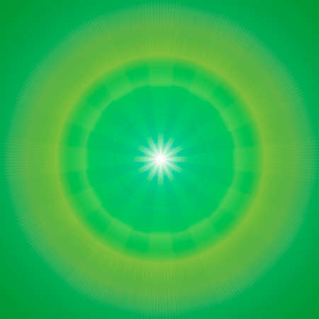 center position: Green sky with glaring sun  Square crop center position Stock Photo