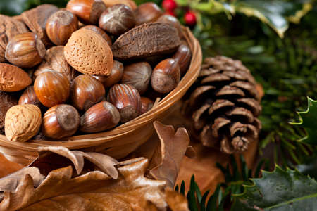 firry: Various Christmas nuts in basket with green twigs decoration Stock Photo
