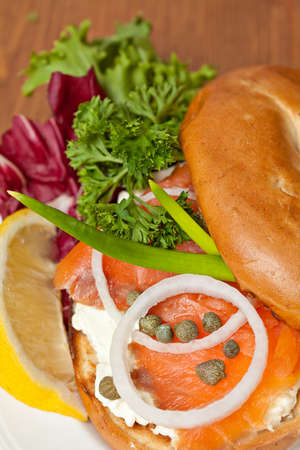 Close up Salmon Bagel Sandwich  photo