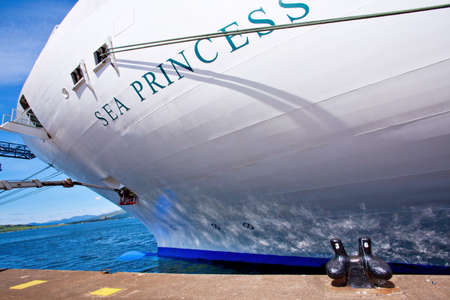 GREENOCK, SCOTLAND UK - JULY 09  Bow of Sea Princess cruise ship docked at sea port  Greenock port, Scotland, July 29, 2013  Editorial