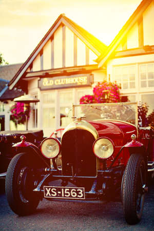 sulight: GULLANE, SCOTLAND - SEPTEMBER 5, 2013: Bentley Speed Six was sports and luxury car based on Bentley rolling chassis in production from 1928 to 1930. It  was a more sporting version of the Bentley 6½ Litre and became the most successful racing Bentley.