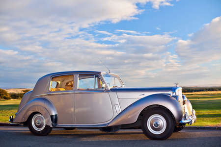 GULLANE, SCOTLAND - SEPTEMBER 5, 2013: The Bentley Mark VI 4-door standard steel sports saloon was the first post-war luxury car from Bentley. Production 1946–1952, 5208 produced. This shorter wheelbase chassis and engine was a variant of the Rolls-Royc