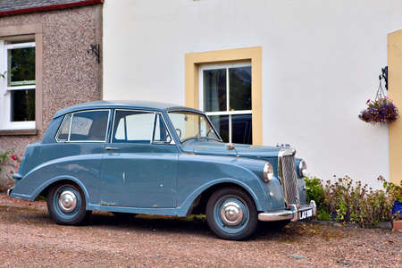 CERES, SCOTLAND - JULY 31, 2014: The Triumph Mayflower is a British four-seat economy car noted for its razor-edge styling. It was built by the Standard Motor Company; was manufactured from 1949 until 1953 and only 35,000 were made. The Mayflower is the s