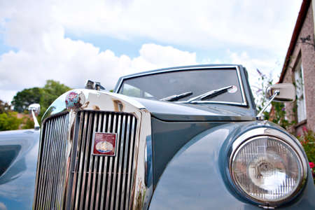 mayflower: CERES, SCOTLAND - JULY 31, 2014: The Triumph Mayflower is a British four-seat economy car noted for its razor-edge styling. It was built by the Standard Motor Company; was manufactured from 1949 until 1953 and only 35,000 were made. The Mayflower is the s