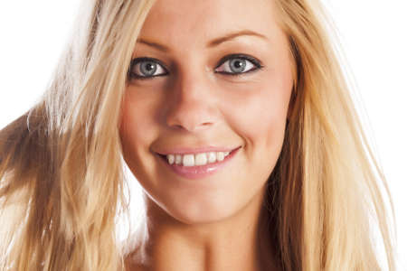 uncombed: Caucasian european girls face expressing cheerful emotions Stock Photo