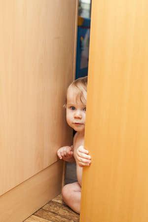 keek: Curious cute baby toddler boy looking through ajar door
