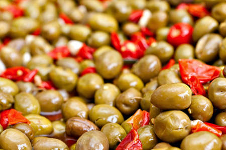 marinated: Marinated pitted green olives