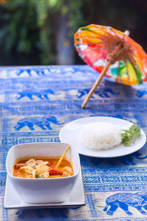 Tom Yum Goong soup - Thai the most famous Thai dish served with steamed rice. It is widely served in neighbouring countries such as Cambodia, Laos, Brunei, Malaysia and Singapore.