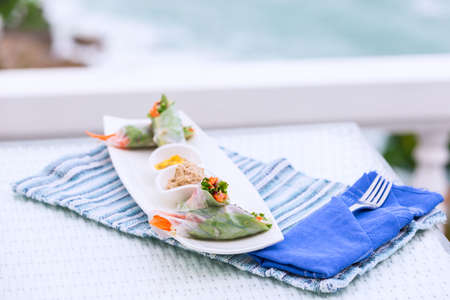 vegetarian food: Vietnamese vegetable spring rolls served with walnut pate and mango sauce on a plate. Oriental vegetarian food, healthy eating choice