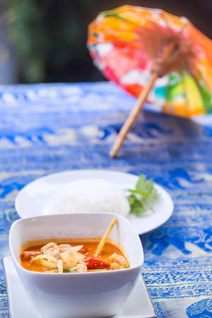 goong: Tom Yum Goong soup - Thai the most famous Thai dish served with steamed rice. It is widely served in neighbouring countries such as Cambodia, Laos, Brunei, Malaysia and Singapore.