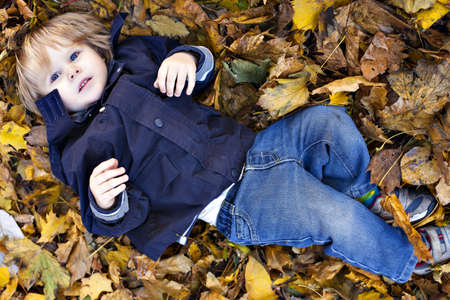 toddler boy: Toddler blond boy with blue eyes lays on bed of autumn fallen leaves
