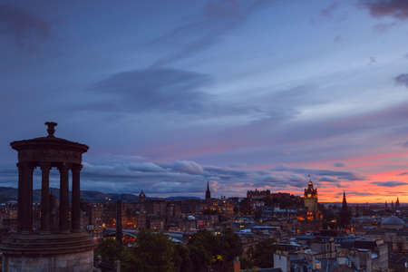 scottish culture: Picturesque view of evening Edinburgh old town at sunset with the Castle from Calton hill , Scotland, UK Stock Photo