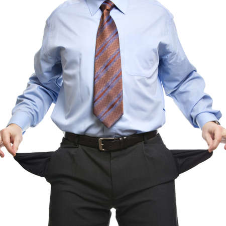 penniless: Businessman showing empty pockets. Concept for bankruptcy, poverty or penniless. Isolated on white background