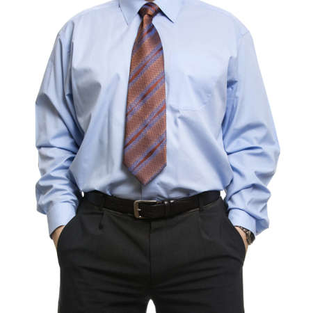 hands on pockets: Unrecognizable businessman in blue shirt standing with hands in pockets