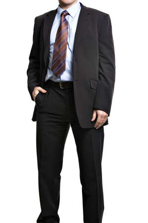 businessman suit: Unrecognizable businessman in suit standing with hand in pocket