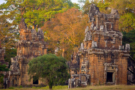 thom: North Khleang towers in Angkor Thom complex at sunset light Stock Photo